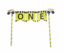 Bouw Een Cake Topper Nummer Cake Bunting 1st Eerste Verjaardag Topper Decoratie Dump Truck Cake Bunting Party Decor(China)