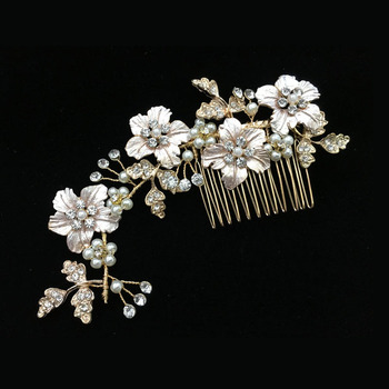 Gorgeous Golden Flower Leaf Rhinestones Pearls Wedding Hair Comb Bridal Headpieces 1