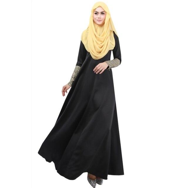 Kaftan Abaya Islamic Muslim Women Long Sleeve Elegant Maxi Cocktail Long  Dresses 3 Colors Y4 f127423e1268