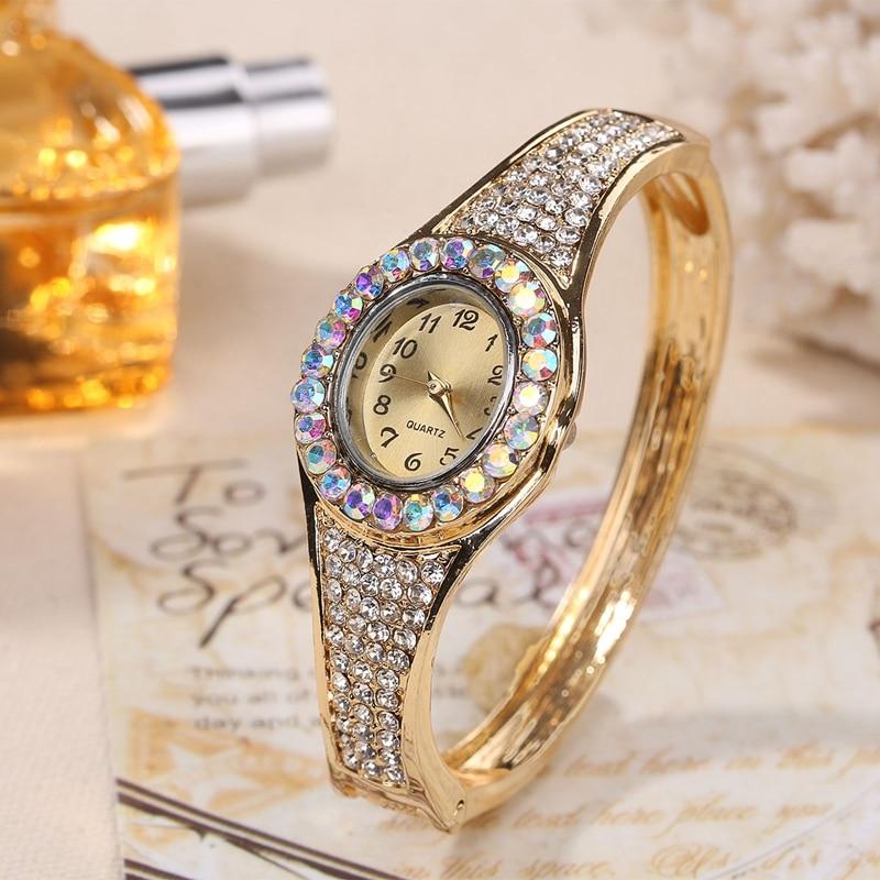 Women Luxury Fashion Jewelry Watches Gold Color Band Dress Quartz Wristwatch Diamond Decor Bracelet Watch horloges vrouwen