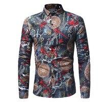 Для мужчин блузка стрекоза печатных Винтаж цветок Стиль мужские рубашки для мальчиков Весенняя мода Рубашка с отложным воротником Smart Повс...