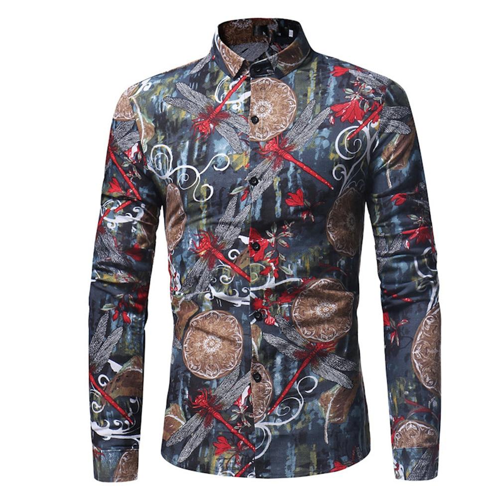 Männer Bluse Libelle Gedruckt Vintage Blume Stil Männlichen Shirt Jungen Frühlingsmode Umlegekragen Shirt Smart Beiläufige Dünne Tops