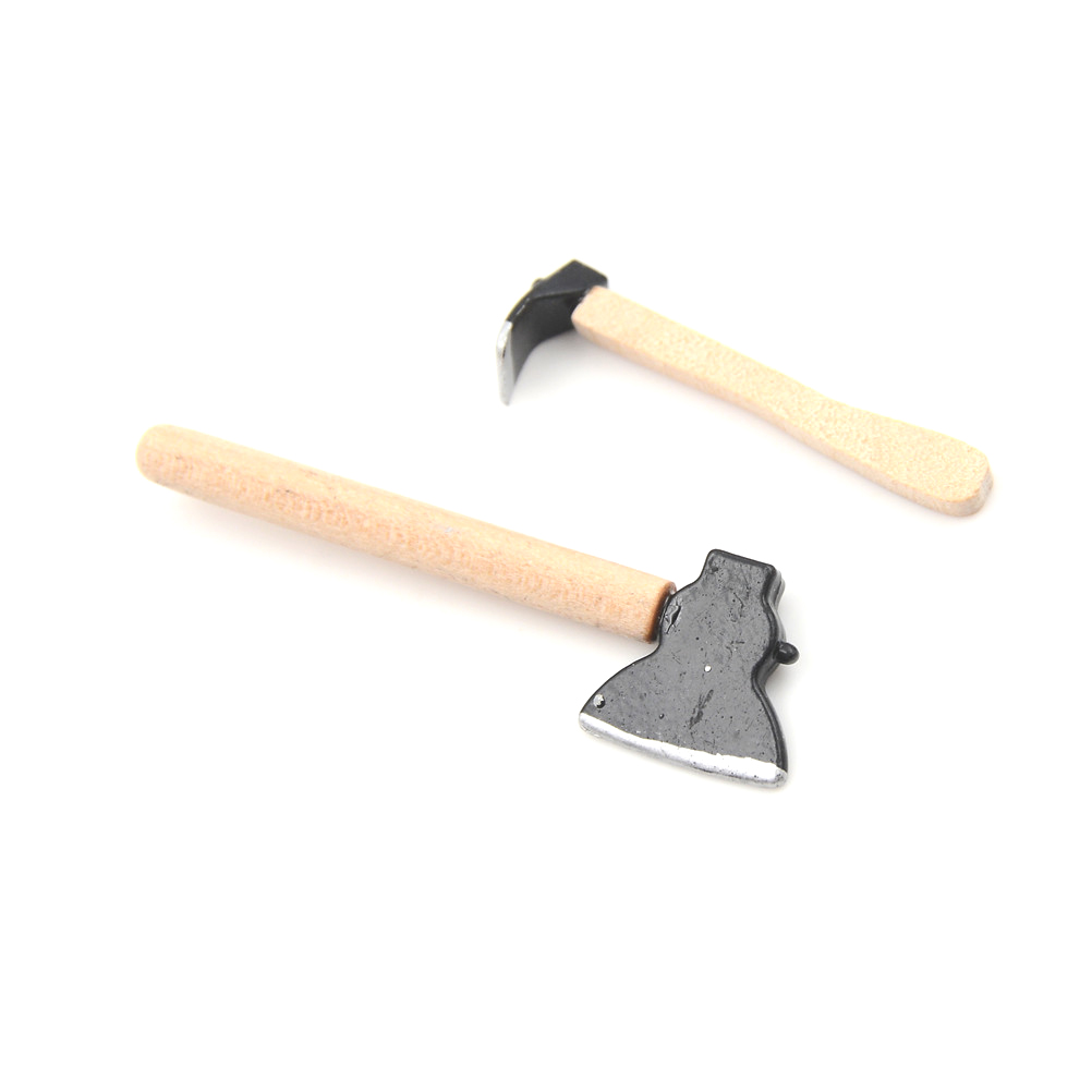 Dollhouse Miniature 1:12 Toy 3 Pieces Of Tools Axe Hammer Length 6.7cm A^