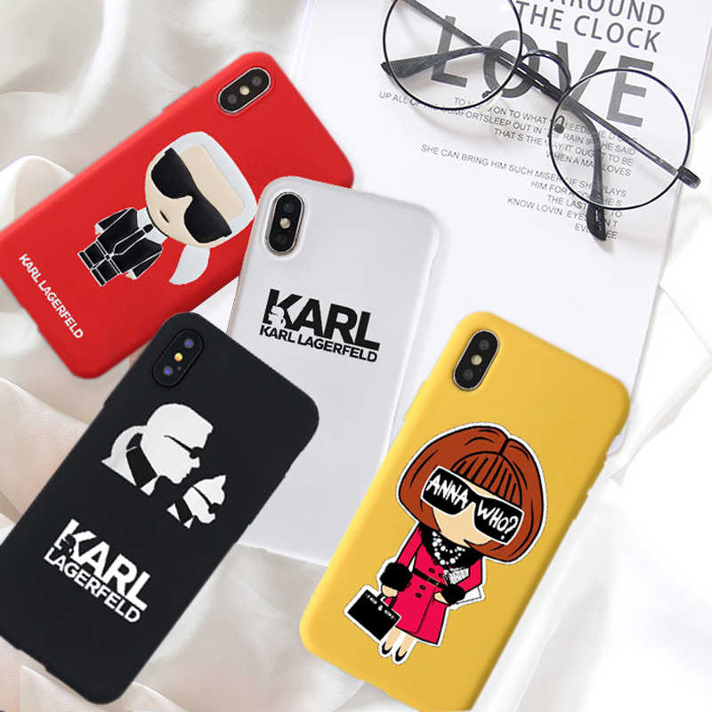 GYKZ Cool Karl Lagerfeld Soft Silicone Phone Case For iPhone XS MAX X XR 7 6 6s Plus Fashion Matte Coque For iPhone 8 Cover Bag