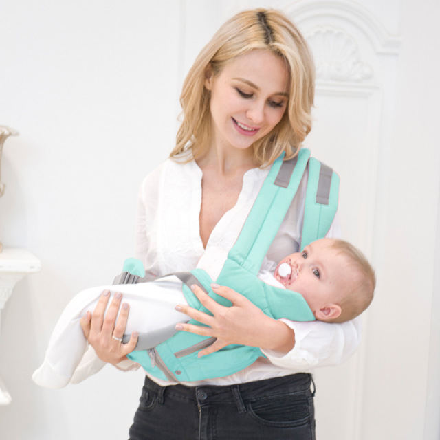 AIEBAO Ergonomic Baby Carrier Infant Kid Baby Hipseat Sling Front Facing Kangaroo Baby Wrap Carrier for Baby Travel 0-18 Months 2