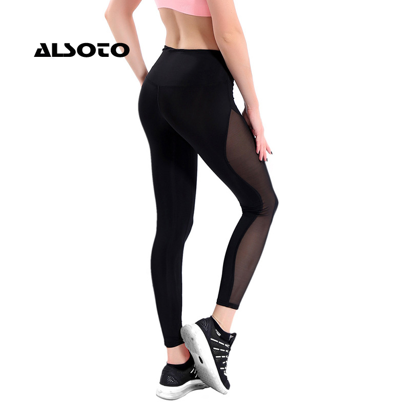 ALSOTO Women Running Pants Mesh Patchwork Pencil Pants Elasticity Slim Jeggings Ladies Leggins Pantalon Stretch Femme