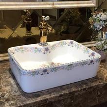 Очень красивая прямоугольная керамическая набор посуды керамическая ванная комната умывальник, туалет раковина