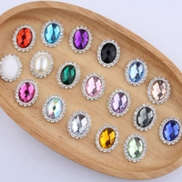 120PCS 20MM*25MM Newborn Silver Horse Eye Flatback Rhinestone Buttons For Hair Headbands and Flower Centers Accessories