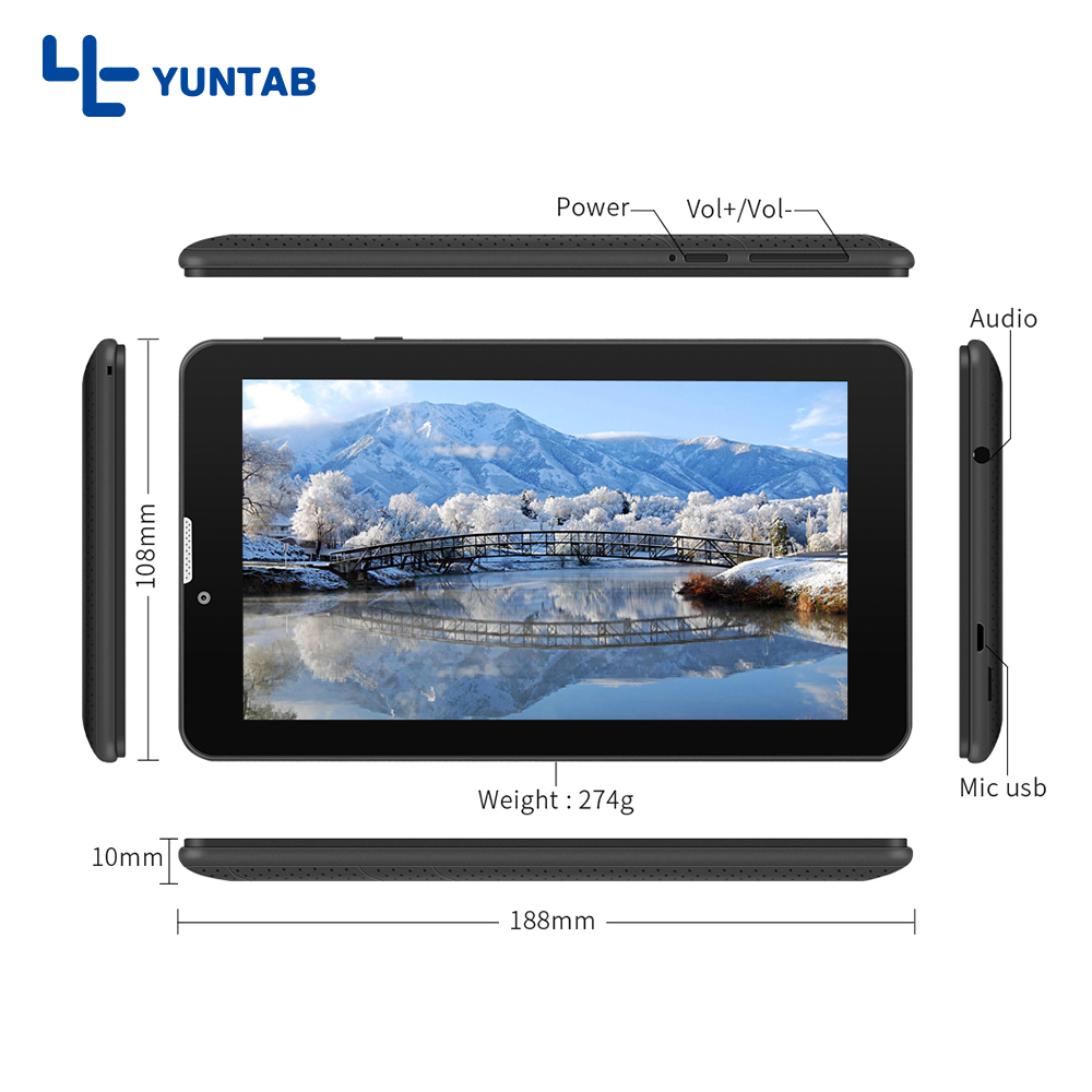 Yuntab 7inch E706 tablet PC quad core phone call tabet pc IPS screen 1024*600 with dual Camera WiFi/Bluetooth 7 8 10 10.1 планшетный пк tadf dual core 2 10 pc hd ips wifi pc 64 k $5