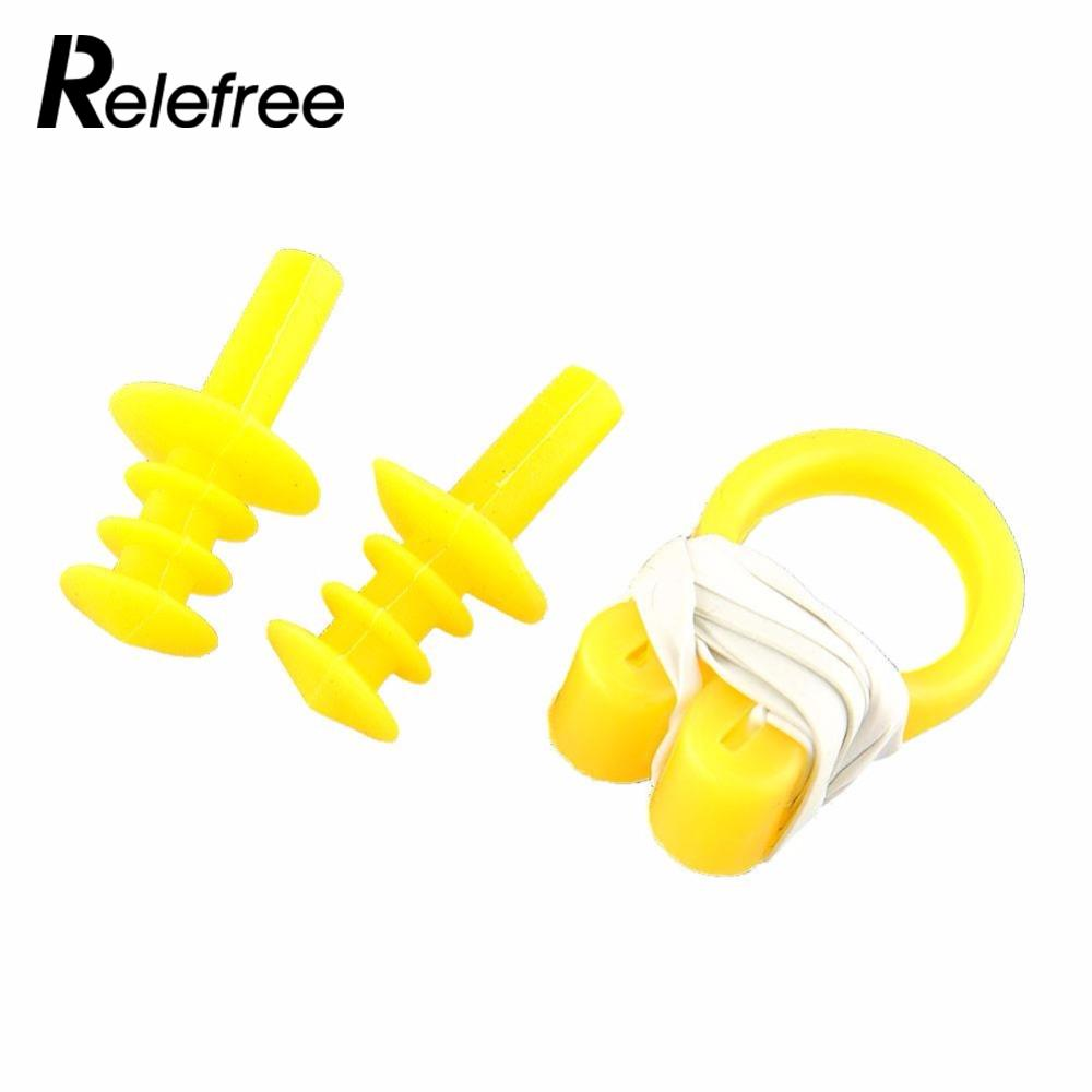 Relefree Waterproof Soft Water Sport Swimming Swim Nose Clip 2x Ear Plug Set Protector Tool