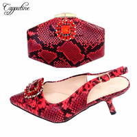 Capputine 2019 New Nigeria Ladies Shoes Purse Set Italian PU Leather High Heels Shoes And Bags Set To Match For Party 5Colors