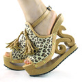 LF03118 New Beige Leopard Wooden Wedge Platform Clogs Sandals