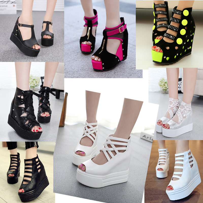 2015 summer platform sandals female wedges open toe cutout shoe high-heeled - Online Store 331468 store