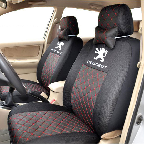 grey/red/black/beige silk Material Embroidery car logo Car Seat Cover For PEUGEOT 206 207 307 308 301 407 3008 with neck blanco elipso s ii grey beige