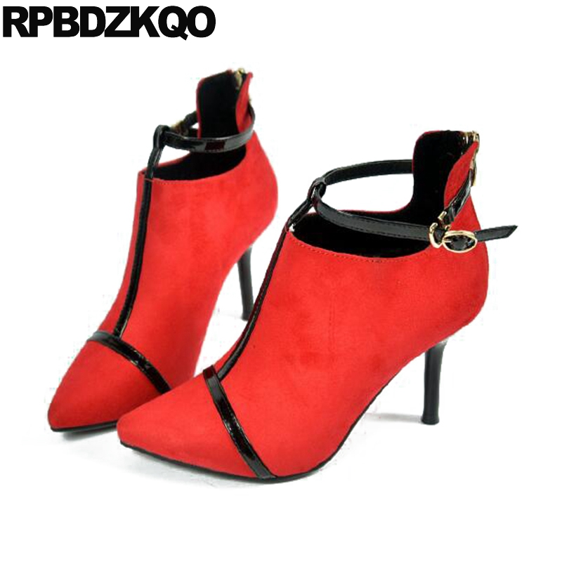 Metal Designer High Heel Suede Women Boots Winter 2017 Pointed Toe Shoes Big Brand Ankle Red Short Booties Stiletto Sexy Fur designer luxury designer shoes women round toe high brand booties lace up platform ankle boots high quality espadrilles boot