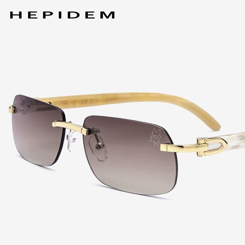 Buffalo Horn Glasses Frame Women New Squared Rimless High Quality Square Men s Sunglasses Luxury Eyewear