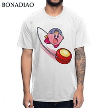 Kirby Super Star T Shirt For Man Popular Round Collar Healthy Cotton Big Size Homme Tee Shirt(China)