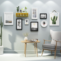 9 Pcs / Sets Wood Photo Frame Wall Decor Hanging Picture Frames Home Decoration Accessories with Vase Shelf and HD Pictures Core