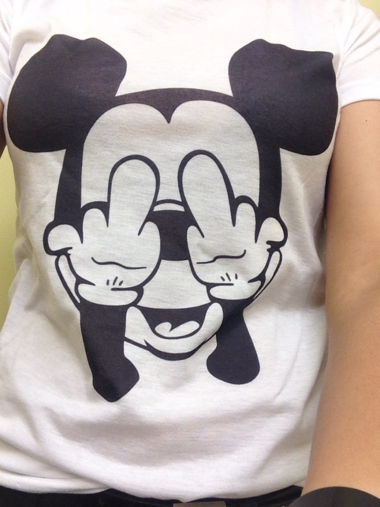 Women t-shirts Cartoon Middle Finger Print O-neck Striped t shirt Fashion Female t-shirt Crop Top 14