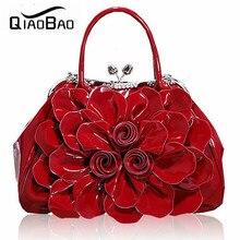 QIAO BAO 2017 frauen Strass Tasche Lackierten Ledernen Gestaltung Taschen Ol Blume Tasche Braut Handtasche