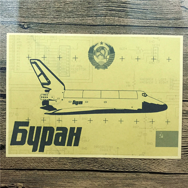 Russian fighter Living Room poster WorldWarII aircraft Vintage Kraft ...