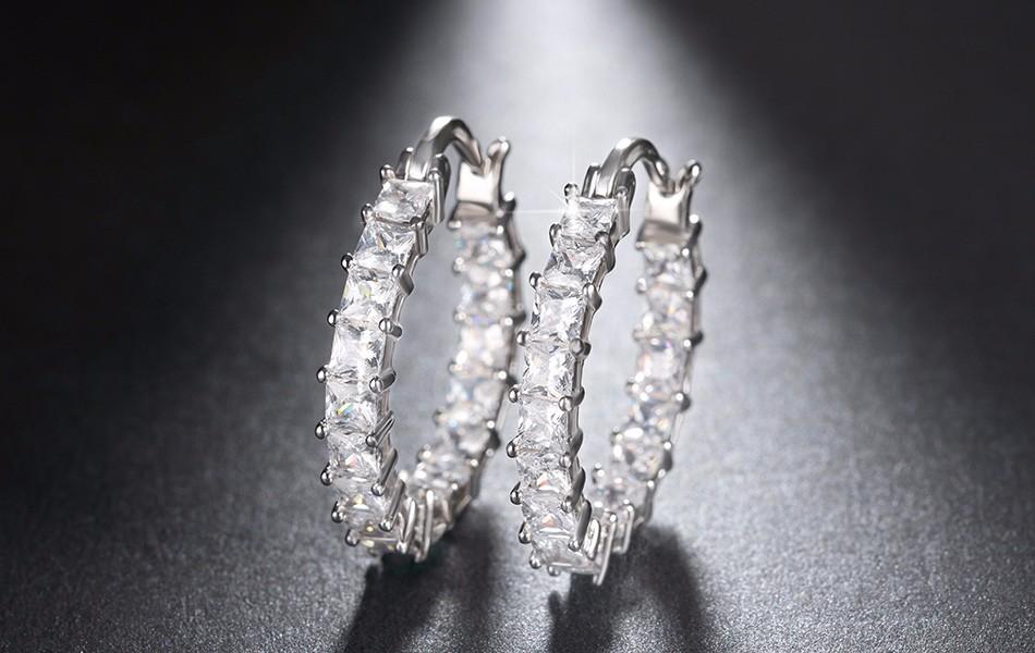 Effie Queen Big Round Hoop Female Earring Eternity Style with Shiny Zircon Bar Setting Luxury Earrings for Women Wholesale DE144 14