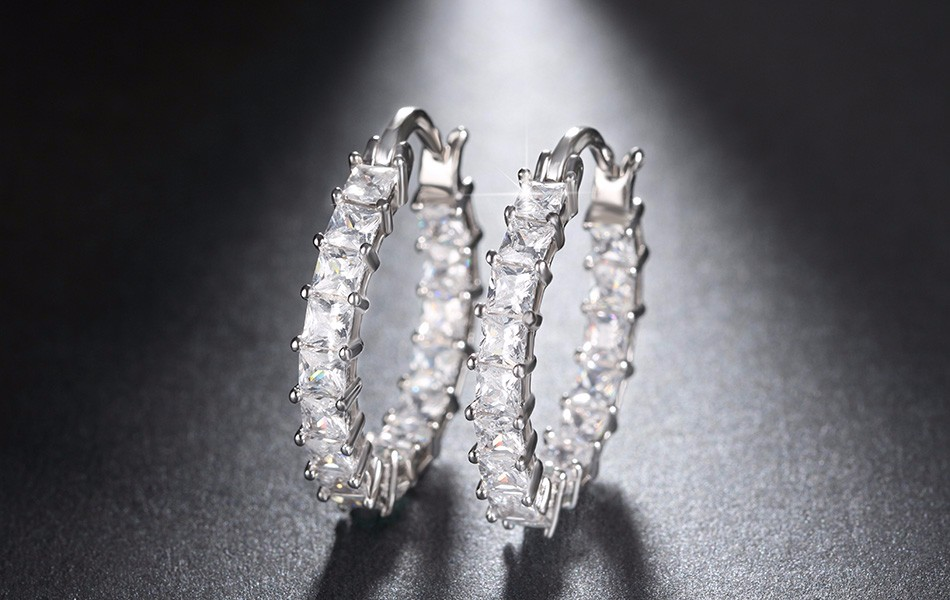 Effie Queen Big Round Hoop Female Earring Eternity Style with Shiny Zircon Bar Setting Luxury Earrings for Women Wholesale DE144 14