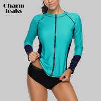 Charmleaks Frauen Lange Sleeve Zipper Rashguard Hemd Badeanzug Bademode Surfen Top Rash Guard UPF50 + Laufschuhe Shirt Radfahren Shirt