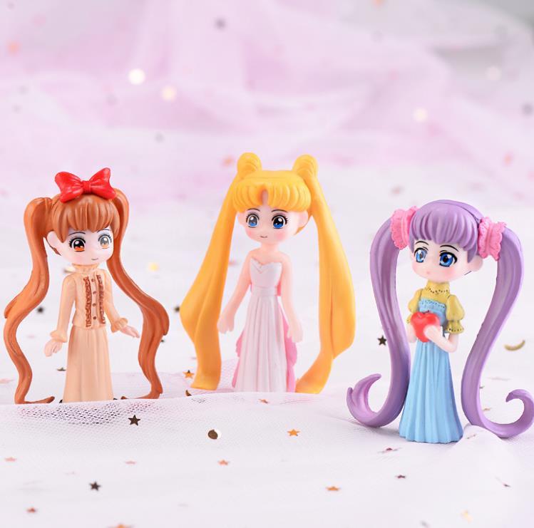 1 Pc Kawaii Cartoon Long Hair Beautiful Girl Model Action Figure Toy DIY Resin Craft Ornament Doll Toy-1