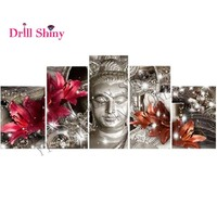 5ps Set DIY Diamond Embroidery Buddha Full 5D Diamond Painting Cross Stitch 3D Mosaic Decor Diamond