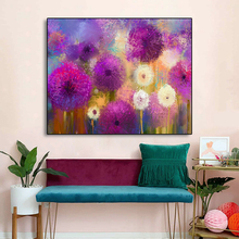 Laeacco Canvas Calligraphy Painting Watercolor Graffiti Flowers Garden Wall Art Pictures for Living Room Bedroom Home Decoration