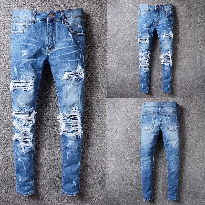 Italian Style Fashion New Men Jeans,High Quality Patchwork Casual Pants Slim Fit Brand Streetwear Stretch Biker Jeans Men