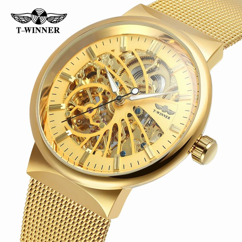 Winner Transparent Steampunk Montre Homme gold Retro Casual Mens Watches Top Brand Luxury Full Steel Skeleton Mechanical Watch