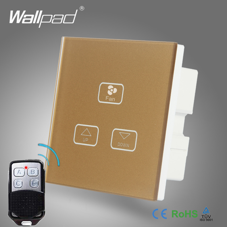 все цены на Luxury Fan Regulator Switch Wallpad Gold Frame 110V-250V Fan Switch Broadlink 3 Gang Remote Control Fan Speed Dimmer Wall Switch онлайн
