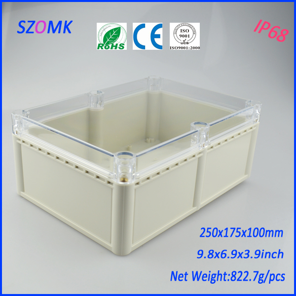 1 piece plastic waterproof electrical enclosure with transparent cover 250*175*100mm 9.8*6.9*3.9inch цена