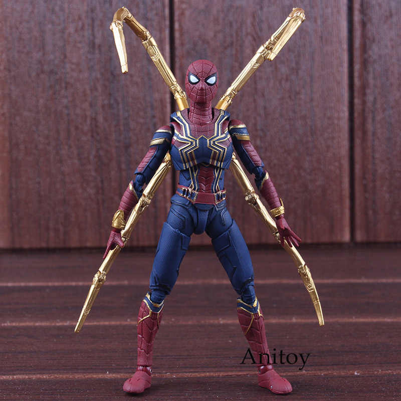 SHF Figure Avengers Infinity Guerra Iron Spider Spiderman Figurine PVC Action Figure Marvel Da Collezione Model Toy