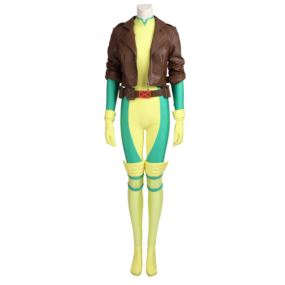 X-Men Rogue Cosplay Costume For Adult Women Halloween Costumes Superhero Women Sexy Leather Jumpsuit Custom Made
