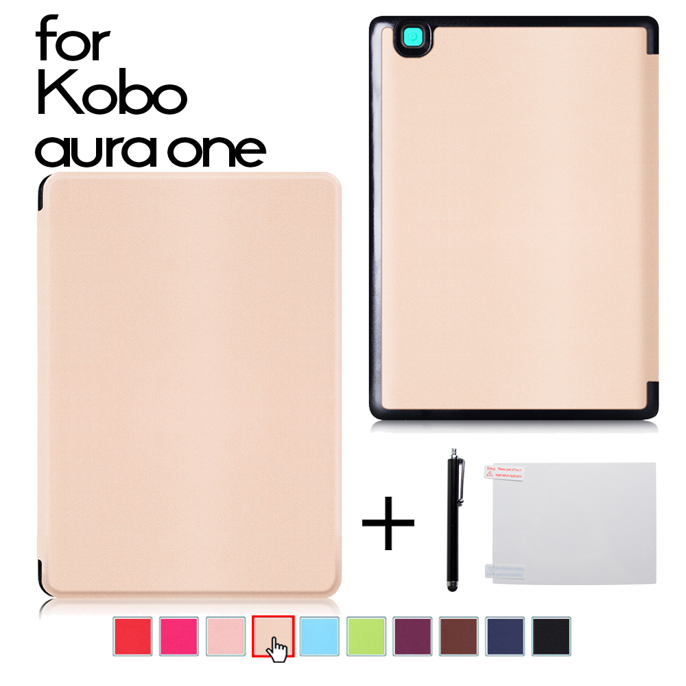 Ultra slim PU leather cover case for Kobo Aura One 7.8 inch eBooks Case + protector film + stylus cover case for kobo aura one 7 8 inch ebook reader magnetic pu leather case screen protector film stylus pen