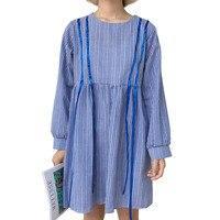 Korea Fashion O Neck Ribbon Plaids Print Vestidos Loose Summer Dress Long Sleeve Plus Size Streetwear Beach Dress Maxi Women