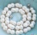 "$ Wholesale_jewelry_wig $ frete grátis 17 ""17mm branco barroco colar de pérolas de água doce dupla"