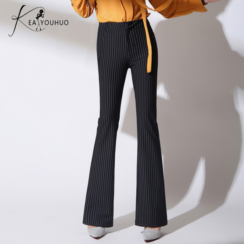 Autumn 2018 Office Ladies Trousers Women High Waist   Pants     Pants   Woman Female   Wide     Leg     Pants   Black White Striped Pantalon Femme