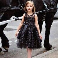 Inglaterra Estilo Tutú Roseta Flor Vestidos de Niña de Vacaciones De Navidad Negro Vestidos Vestido de Cuello Redondo de La Rodilla-Longitud de Encaje de Tul Personalizado