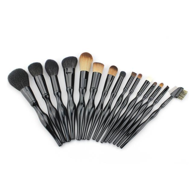 15 pcs Curva Do Corpo Conjunto de Pincéis de Maquiagem Facial Beleza Blush Em Pó Fundação Mistura de Contorno Da Sobrancelha Delineador Cosméticos Escova Kits
