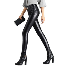2017 Autumn And Winter high elastic waist sexy hip faux leather leggings keep warm add velvet all-match PU 8126