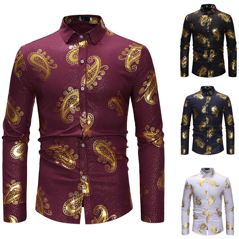 Hipster Men's Gold Paisley Floral Print Shirt High Neck Stand Collar Casual Tribal Hippie Button Up Fitted Neat Top For Men