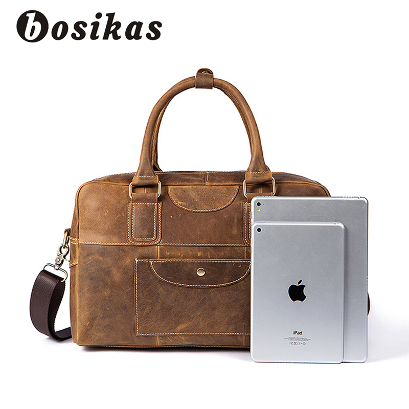 Brown Umhängetasche Männer Schulranzen Tasche Messenger Vintage Marke Zoll Schulter Taschen 14 Laptop Leder Echtem Bosikas Handtaschen qw6UZRTU