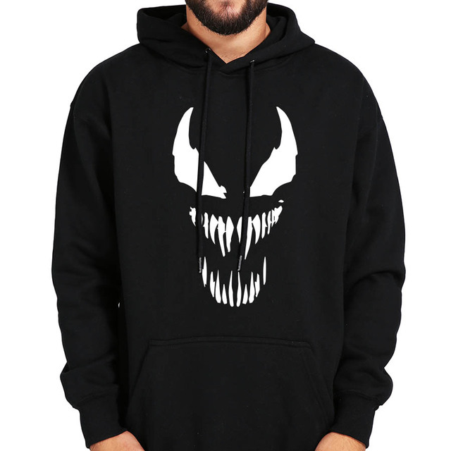 Comic Thick Venom Hoodie Sweatshirts Men Superhero Anime Cool Black Autumn Winter Tops Plus Velvet Warm Hoody