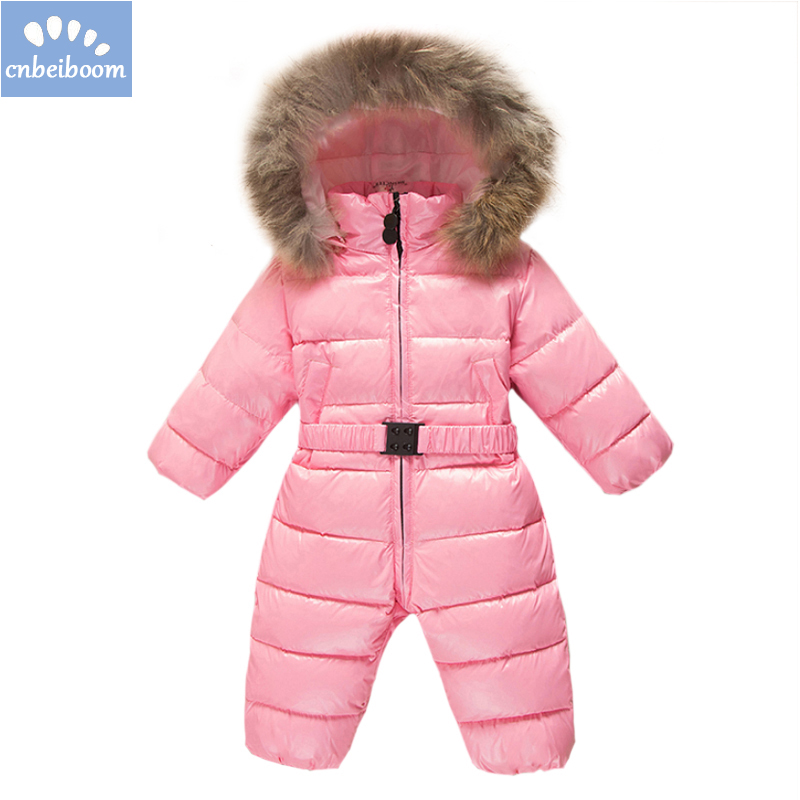 13f15201d1d5 Baby Snowsuit Jumpsuit 0 3T Duck Down Hooded Jacket Infant Girl Boys ...