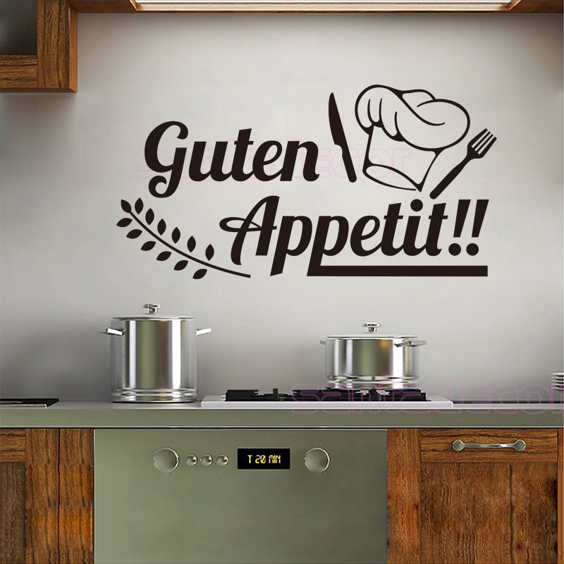 German vinyl wall sticker decals Guten Appetit Removable art wallpaper for Kitchen dining Room Home Decor House Decoration 30X59