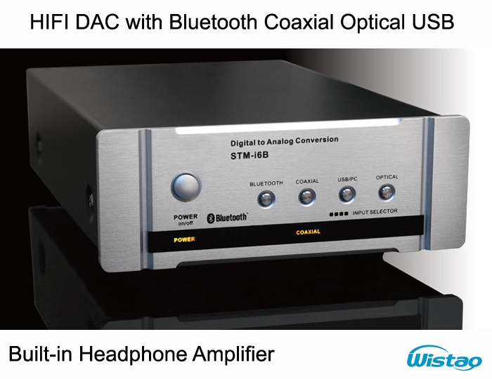 HIFI DAC Decoder with Fiber Coaxial Headphone Amplifier Bluetooth 4.0 U CSR Disk Digital Audio Support APT-X